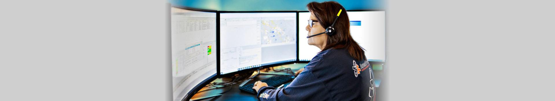 women helping via computer